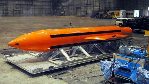 A US Department of Defense (DoD) handout photo of the Massive Ordinance Air Blast (MOAB) weapon on March 11, 2003 at Eglin Air Force Base, Florida. (Getty/US DoD)