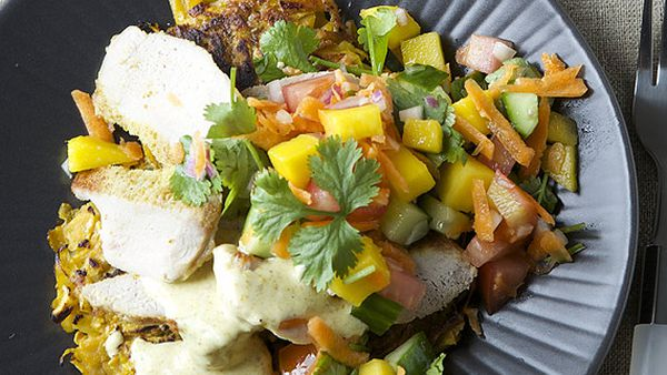 Nadia Lim's pork steaks with sweet potato rosti, nectarine salsa and curry mayo