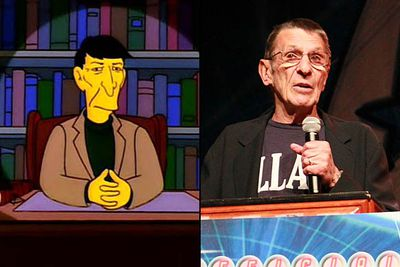 """<B>Appeared in:</B> 'Marge vs the Monorail' (1993), playing himself — though the role was originally intended for Leonard's <I>Star Trek</I> co-star George Takei. Leonard played himself again in 'The Springfield Files' (1997), narrating the story.<br/><br/><B>Best line:</B> """"Hello. I'm Leonard Nimoy. The following tale of alien encounters is true. And by true, I mean false. It's all lies. But they're entertaining lies. And in the end, isn't that the real truth? The answer is: No."""""""