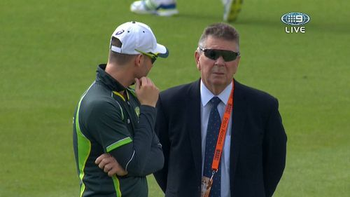 Clarke with selector Rod Marsh today. (9NEWS)