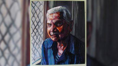 A painting by Myuran Sukumaran of his grandfather. (Facebook)