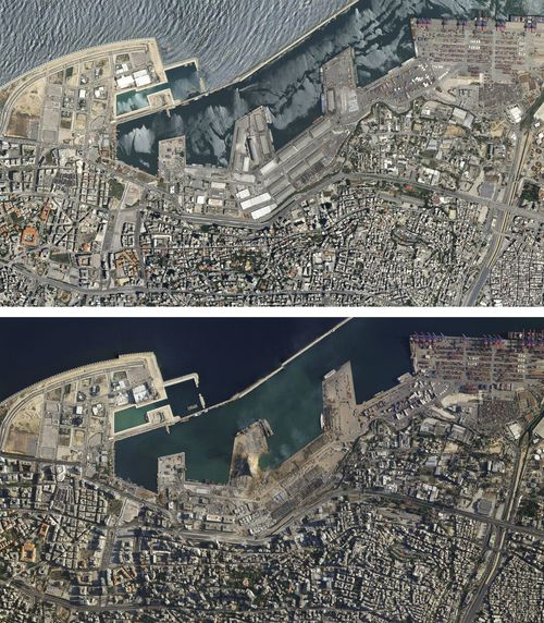 A combo of satellite images of the port of Beirut and the surrounding area in Lebanon, top, taken on May 31, 2020 and the bottom taken on Wednesday Aug. 5, 2020 that shows the destruction following a massive blast on Tuesday. Residents of Beirut confronted a scene of utter devastation a day after a massive explosion at the port rippled across the Lebanese capital, killing at least 100 people, wounding thousands and leaving entire city blocks blanketed with glass and rubble. (Planet Labs Inc. via