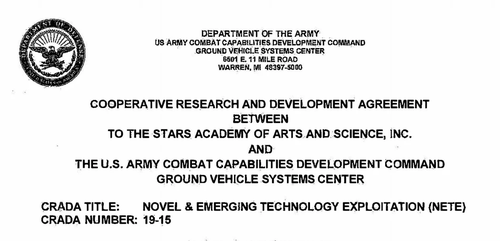 The contract between TTSA and the US Army.