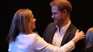 Prince Harry, Duke of Sussex greets delegates at a sustainable tourism summit at the Edinburgh International Conference Centre on February 26, 2020 in Edinburgh, Scotland.