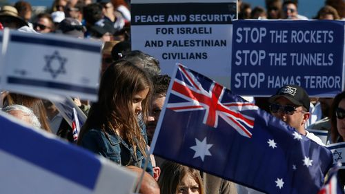 A girl protests Hamas' actions as part of a pro-Israeli rally at Dudley Page Reserve. (Getty Images)