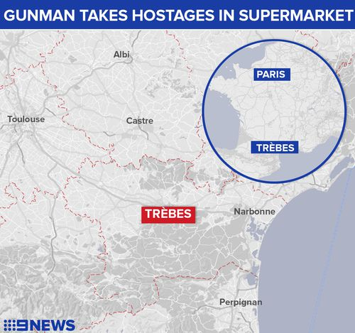 Trebes is located  in southern France about 100km south-east of Toulouse. (9NEWS)