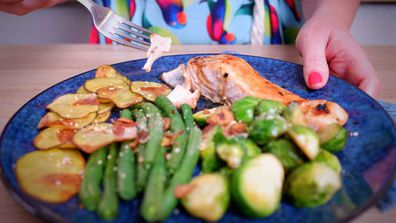 One tray honey-soy salmon bake for no mess or fuss