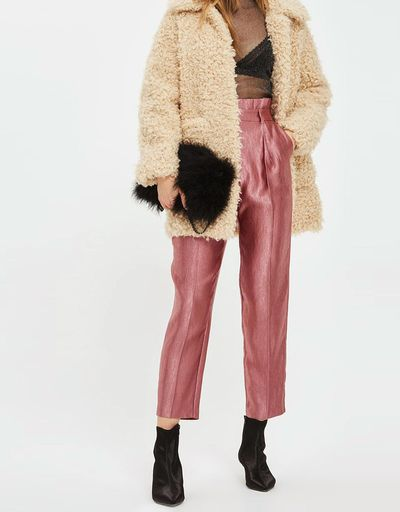 """Topshop metallic pleated trousers, $84.95 at <a href=""""https://www.theiconic.com.au/metallic-pleated-waist-peg-trousers-559411.html"""" target=""""_blank"""">The Iconic<br /> </a>"""