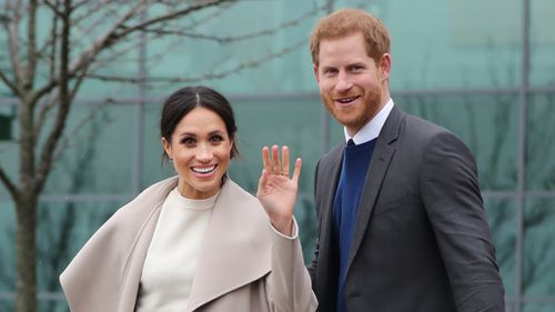 Prince Harry and Meghan Markle during a visit to Catalyst Inc science park in Belfast where they met some of Northern Ireland's brightest young entrepreneurs. (PA)