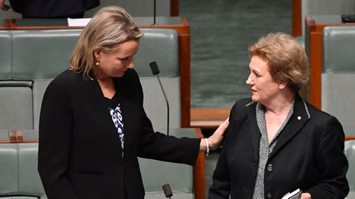 Sussan Ley gives her support to Liberal MP Ryan Jane Prentice in the House of Representatives. (AAP)
