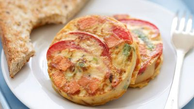 "Recipe:&nbsp;<a href=""http://kitchen.nine.com.au/2016/05/16/12/08/mini-kumara-frittatas"" target=""_top"">Mini kumara frittatas</a>"