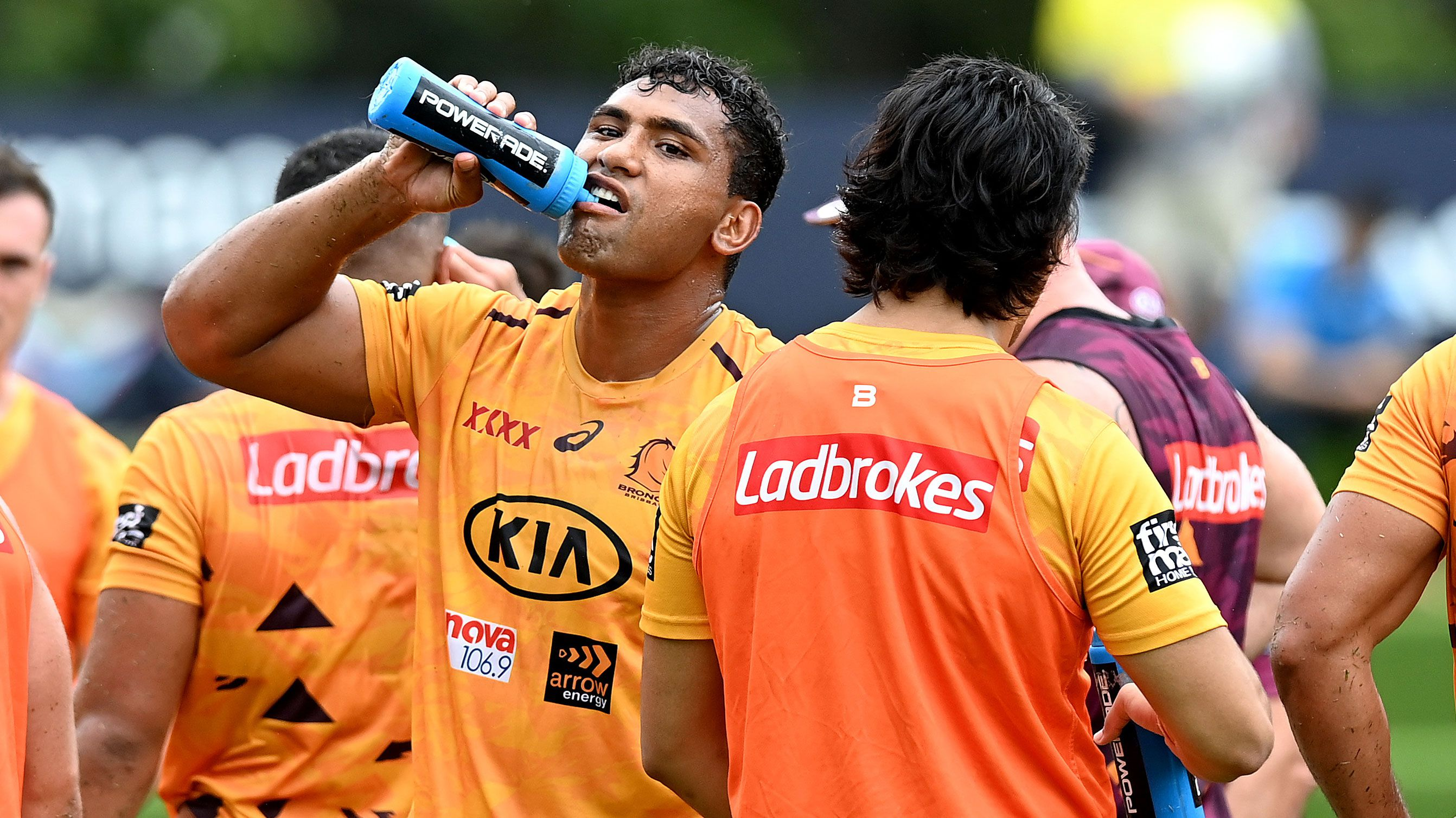 Tevita Pangai has a drink at Broncos training this week.