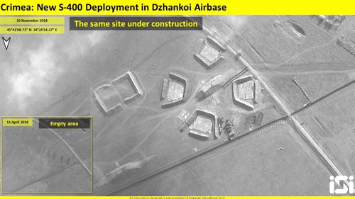 Satellite image by ImageSat International shows a battalion of eight S-400 missile launchers with a maximum range of 400km deployed at Dzhankoy airbase in Crimea