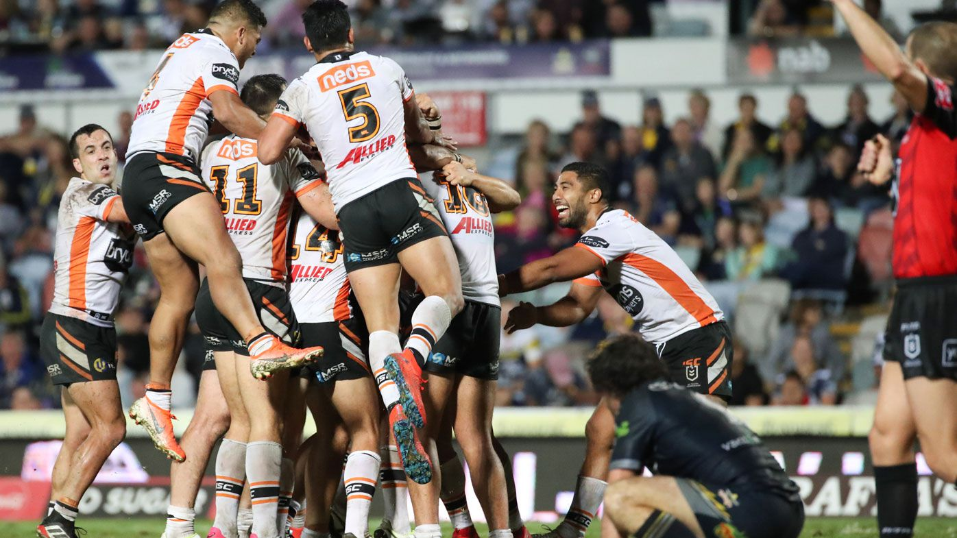 Controversial penalty try mars Wests Tigers golden point win over Cowboys