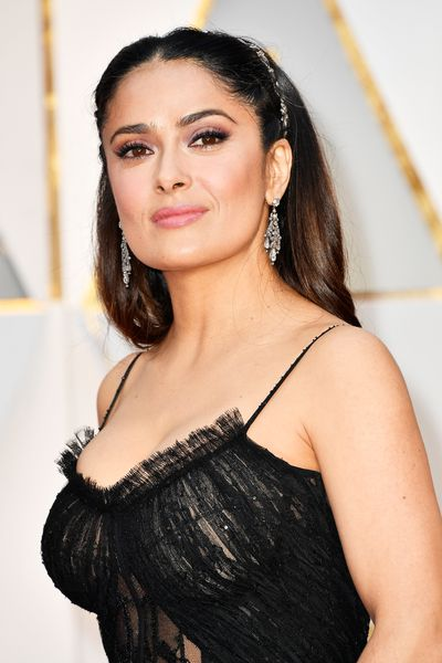 Pink gloss to highlight Salma Hayek's perfect pout and the best winged eyeliner we've ever seen.