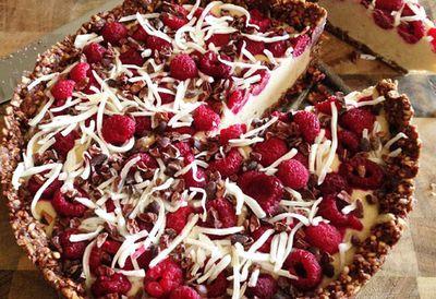 """Recipe: <a href=""""http://kitchen.nine.com.au/2016/05/20/10/28/kara-conroys-raw-coconut-raspberry-cacao-cake"""" target=""""_top"""">Kara Conroy's raw coconut raspberry cacao cake</a>"""
