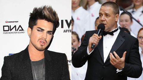 Adam Lambert/Russell Crowe. Images: FilmMagic/Getty