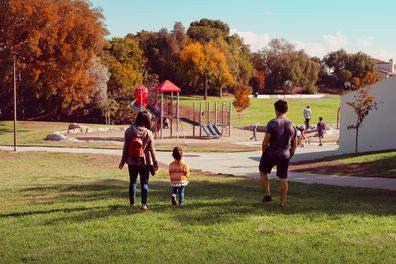 Family playing at the park
