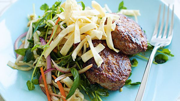Hoisin pork rissoles with asian coleslaw