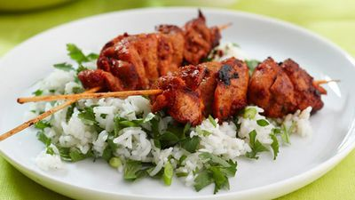"<a href=""http://kitchen.nine.com.au/2016/05/17/12/20/tandoori-chicken-skewers-with-coconut-bananas-for-950"" target=""_top"">Tandoori chicken skewers with coconut bananas<br> </a>"