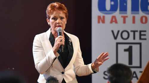 Pauline Hanson at her campaign launch in Brisbane. (AAP)