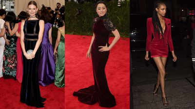 Velvet appeared at the Met Gala care of Gong Li in Roberto Cavalli and Behati Prinsloo in Tommy Hilfiger. Jourdan Dunn joined the velvet crew at Rihanna's Met Gala after party.