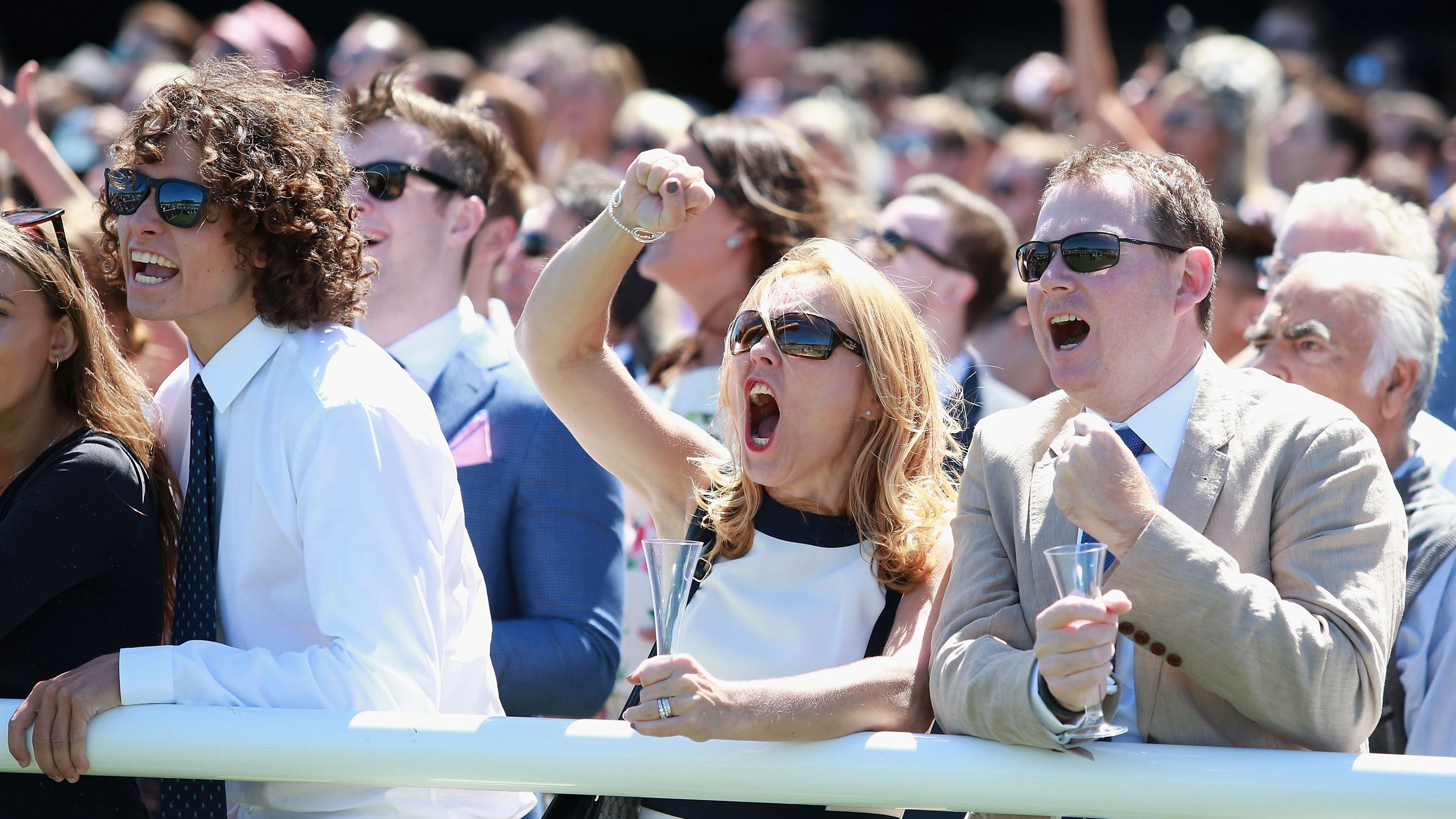 Melbourne Cup racegoers cheer home their picks.