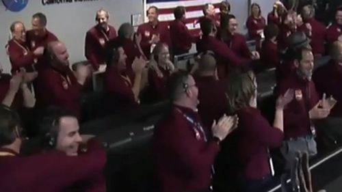 NASA staff broke out in celebration after InSight touched down today.