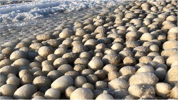 Ice balls, like these ones, form when turbulent water near the shore breaks up a layer of slushy ice, according to CNN Weather.