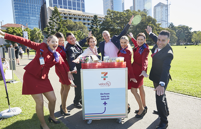 Virgin Australia CEO and cabin crew pictured at The Domain, Sydney, for the launch of their new 7 Eleven partnership.