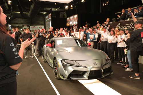 The engine cover of the A90 Toyota Supra is signed by Toyota CEO, Akio Toyoda.