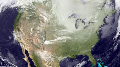 A still from an animation of the US polar vortex developed by the US National Oceanic and Atmospheric Administration (NOAA).