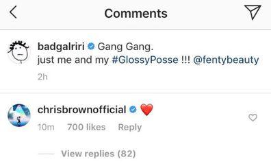Rihanna, Chris Brown, Instagram, comment