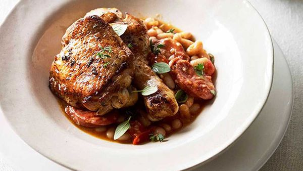 Paprika roast chicken with chorizo and white beans recipe