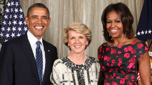Barack and MIchelle Obama with Australian foreign minister Julie Bishop in 2013. (AAP)