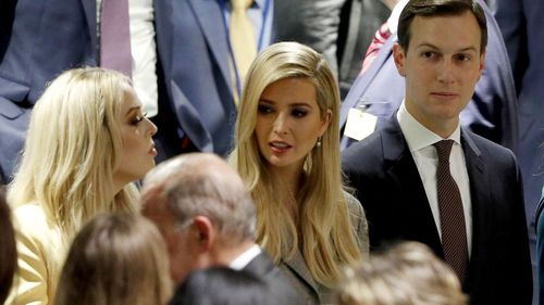 President Donald Trump's daughters Tiffany Trump and Ivanka Trump, with son-in-law Jared Kushner at the UN General Assembly.