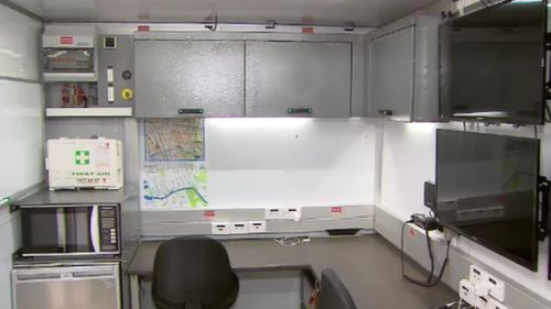 A look inside the new mobile police stations. (9NEWS)