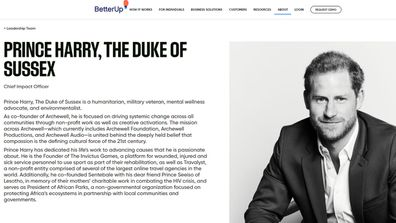 Prince Harry as seen on the BetterUp website