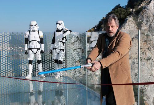 Hamill opening the Skywalker bridge walk at Gibraltar last week. (AAP)