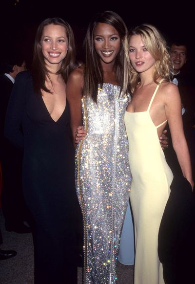 Christy Turlington, Naomi Campbell and Kate Moss hit the 1995 Costume Institute Gala red carpet.
