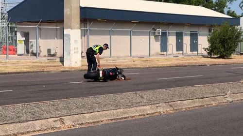 In a separate incident, a motorbike collided with a car and the 18-year-old learner rider taken to hospital with injuries to his arm and leg. Picture: 9NEWS.