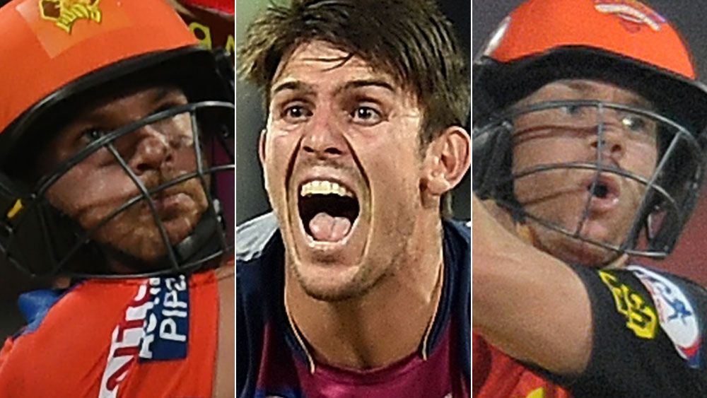 Aaron Finch, Mitchell Marsh and David Warner have been in excellent form for their IPL sides. (AFP)