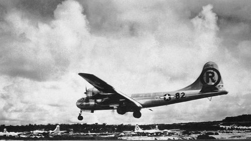 The US Enola Gay bomber returns to base in 1945 after dropping the first atomic bomb over Japan. (AP).