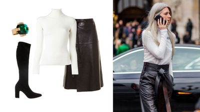 British Vogue editor Sarah Harris shows that leather can translate across dress codes with a smart, tucked-in polo in crisp white. Keep lengths to the knee or below, using ruffle or wrap details to add volume (and to avoid dominatrix-associations at work!).