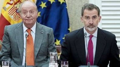King Juan Carlos (left) and King Felipe VI of Spain (right) attend a meeting with COTEC Foundation at the Royal Palace on May 14, 2019 in Madrid, Spain.
