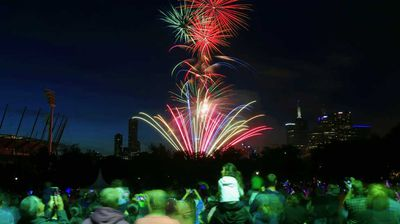 Thousands more witnessed the stunning displays near the MCG. (AAP)