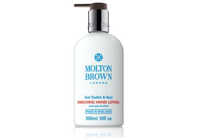 "<a href=""http://www.moltonbrown.com.au/store/mobile/browse/productDetailSingleSku.jsp?productId=prodAUKBT004&lightbox=true"" target=""_blank"">Rok Radish & Basil Enriching Hand Lotion, $42, Molton Brown</a>"