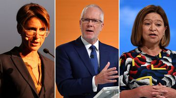 ABC senior presenter Emma Alberici (left), Chair Justin Milne (centre), Former MD Michelle Guthrie (right)