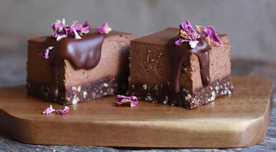 """Recipe: <a href=""""http://kitchen.nine.com.au/2017/10/17/09/38/cacao-and-peanut-butter-cashew-cheesecake-with-pecan-and-sprouted-flax-base"""" target=""""_top"""">Cacao and peanut butter cashew cheesecake with pecan and sprouted flax base</a>"""