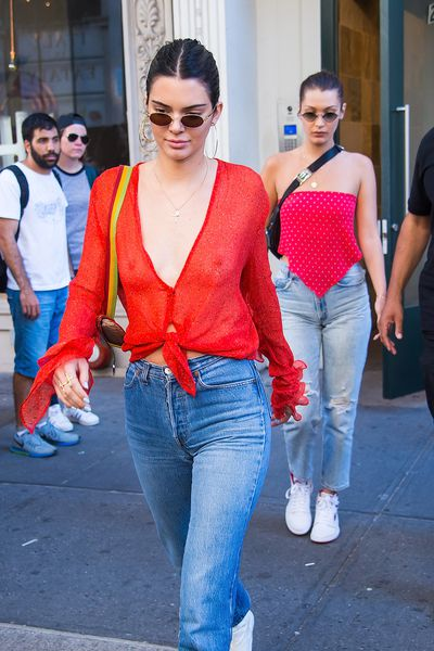 Kendall Jenner and Bella Hadid are seen in Chelsea on July 30, 2017 in New York City.